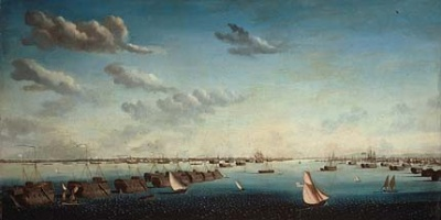Les pontons de Portsmouth. Louis Garneray, vers 1814.
